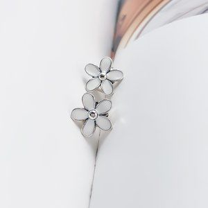 PANDORA White Flower Stud Earrings